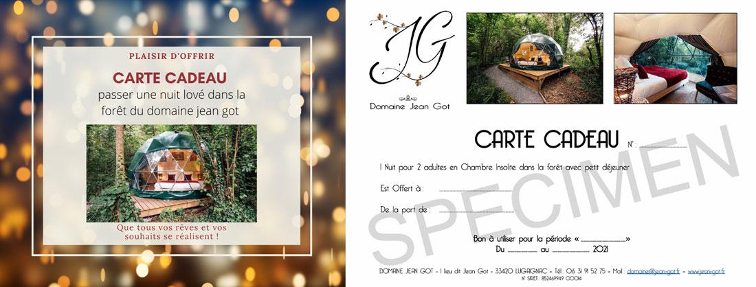 Carte cadeau du Domaine Jean Got : Gite insolite proche de Saint-Émilion